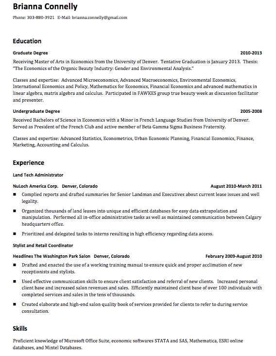 My first resume help
