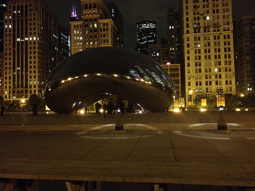 The Bean at night.