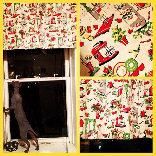 Put up retro/vintage curtains - the Controller okay'ed them.