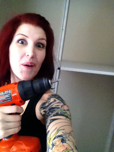 Installing the closet unit. POWERTOOLS!