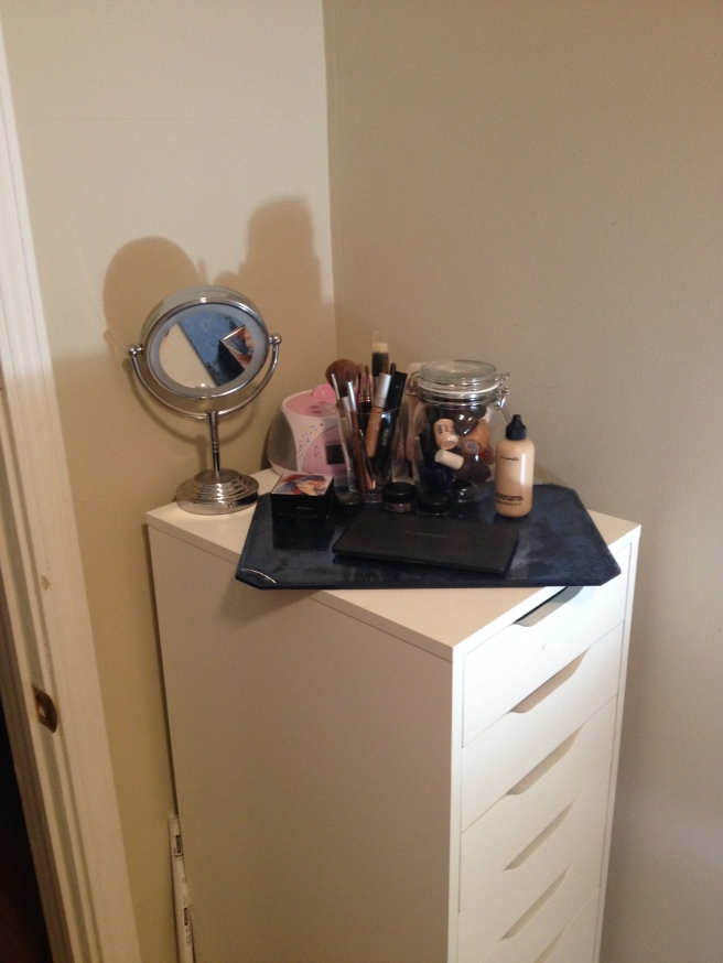 Before my makeup was in a little bag on the sink - after I put it here and get the morning light to apply I love it.