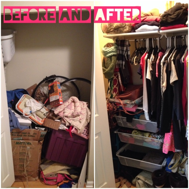 The 'closet' before and after I installed ikea shelving.