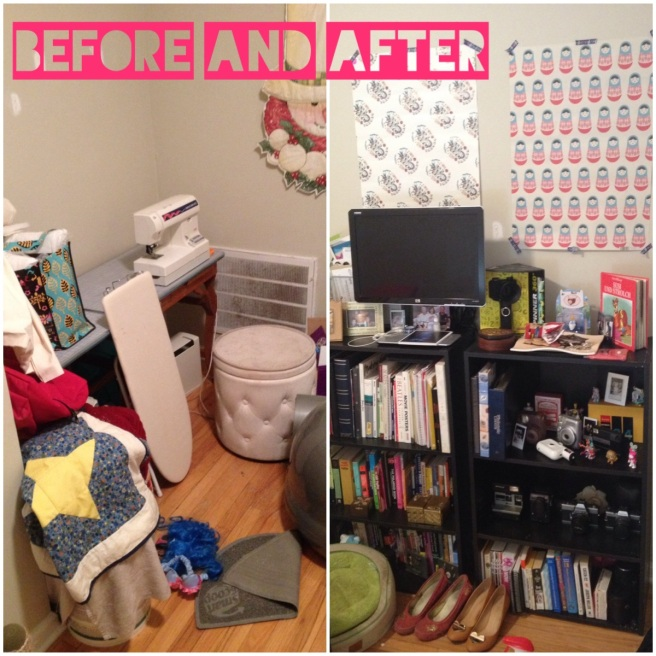 The 'sewing area' before and after it's a cute library media area in my bedroom.