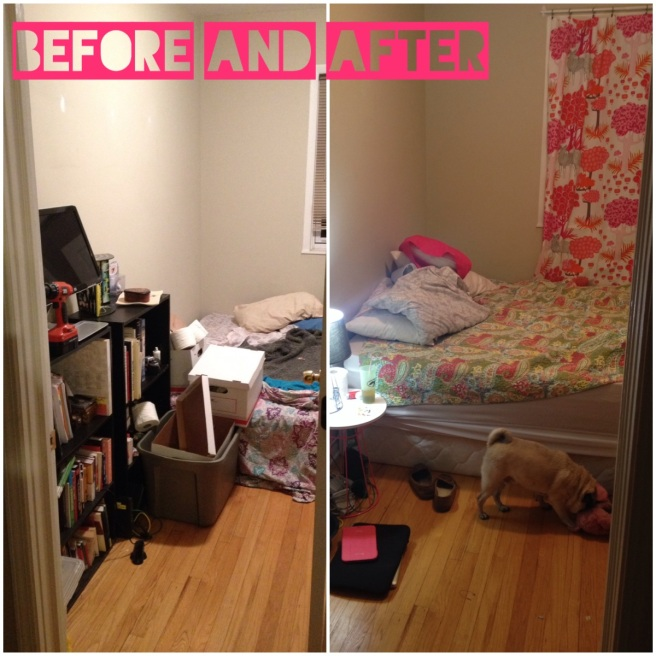 The guest room before and then my bedroom after!