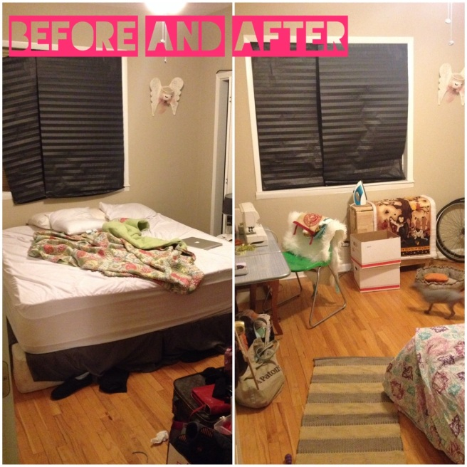 The master bedroom before and then craft room after. Sorry about those banker boxes in the shot - i forgot to move them.