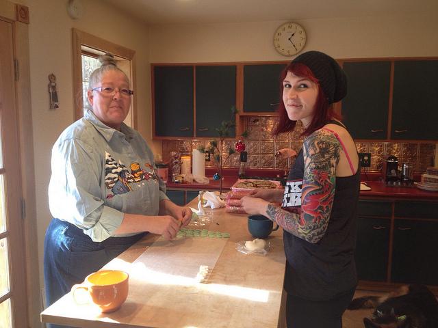 Making mints with Lori.