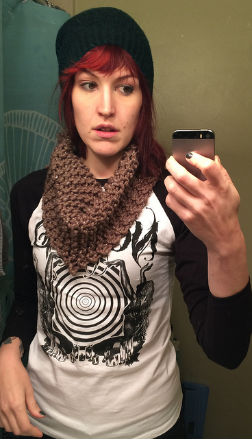 Cowl for Secret Santa at Work:  Möbius on chunky weight acrylic.