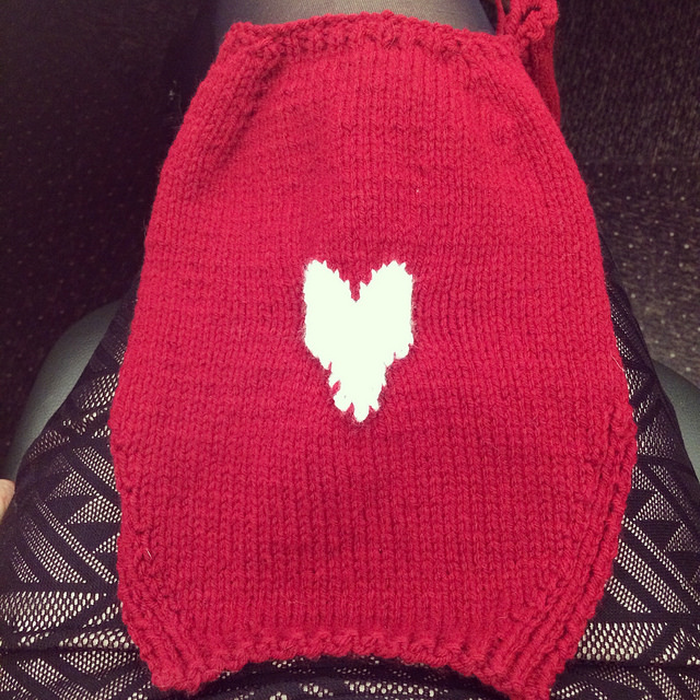 First heart project on modified sweater (no cable obviously) for Boris.