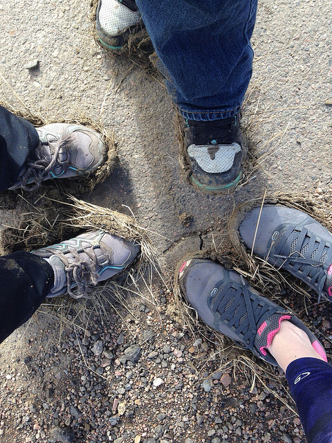 it was pretty muddy on the downslope.