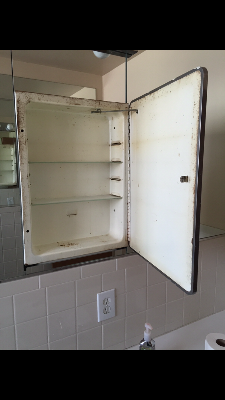 How To Restore A Metal Medicine Cabinet Before And After